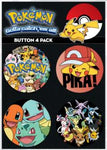 Pokemon 4 Pack Button Collector Set - Set B - Pikachu and Groups