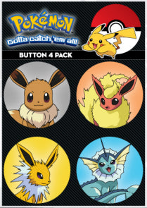Pokemon 4 Pack Button Collector Set - Set C - Eevees