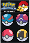 Pokemon 4 Pack Button Collector Set - Set D - Pokeballs