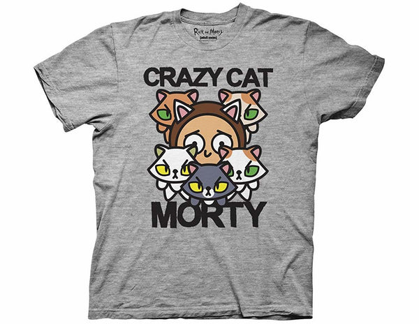RICK AND MORTY CRAZY CAT MORTY ADULT T-SHIRT