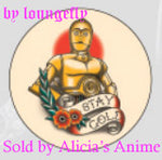 Star Wars 1 1/4 inch Button by Loungefly - C-3PO Tattoo Style - Stay Gold