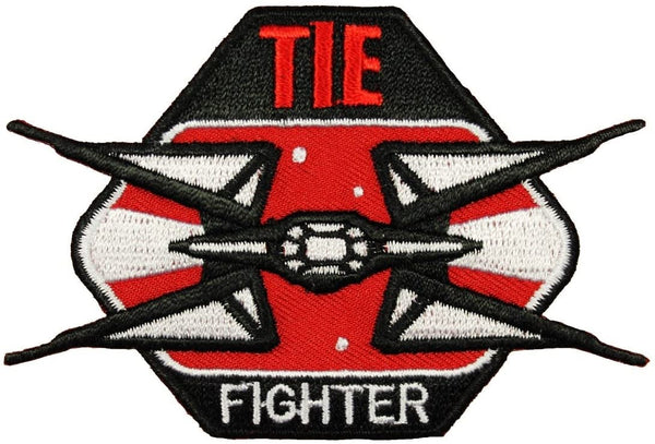 Loungefly Star TIE Fighter Iron On Patch Black, Red and White