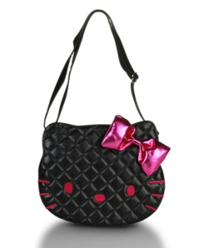 HELLO KITTY BLACK QUILTED FACE CROSS BODY BAG