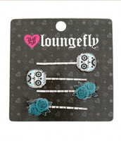 LOUNGFLY SUGAR SKULLS WITH TURQUOISE FLOWERS HAIRPINS