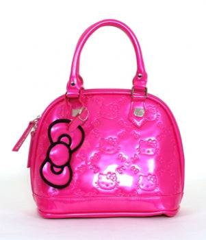 HELLO KITTY FUSCHIA PINK PATENT EMBOSSED TOTE BAG - SMALL