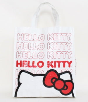 HELLO KITTY REPEAT PATTERN WHITE REUSABLE TOTE