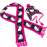 Loungefly Hello Kitty Black and Pink Scarf & Hat Set
