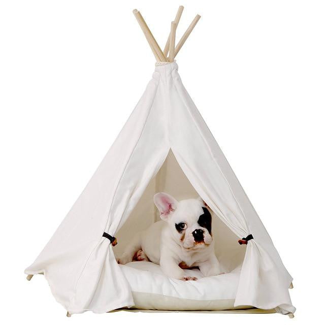 White Pet Teepee House ( with Cushion )