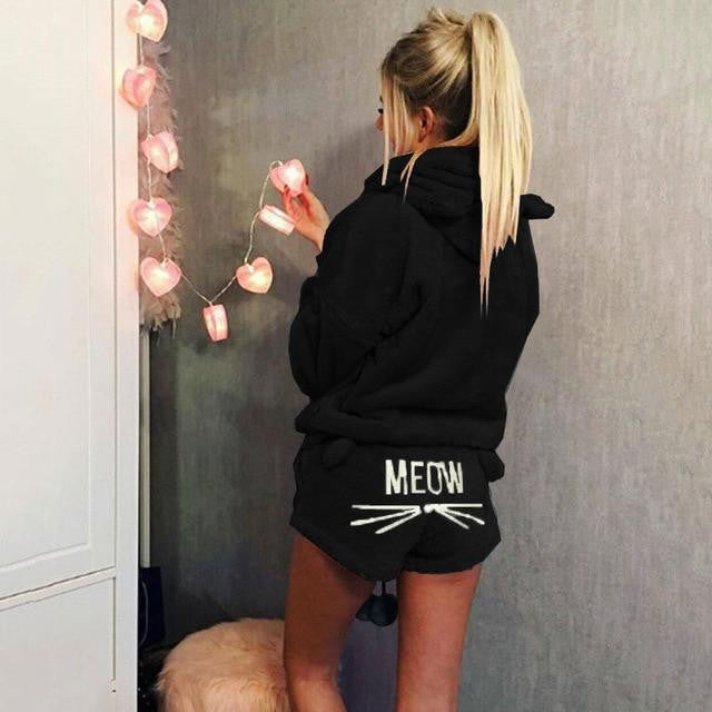 Cute Cat Ear Velvet Hoodie and Meow Shorts - petshoppee.com