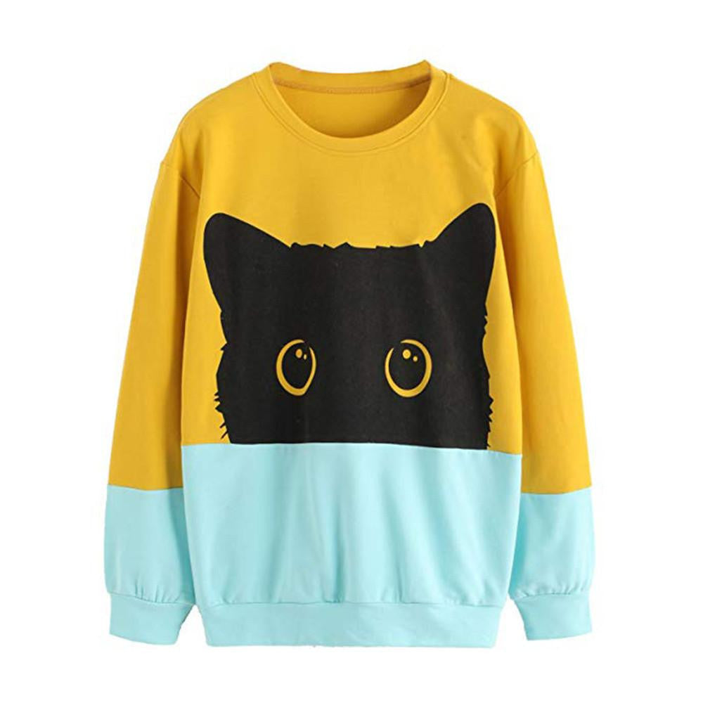 Two Tone Black Cat Print Sweatshirt
