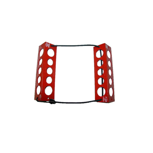 TRAVEL CHOCKS/8/Red. Heat-treated, powder coat finish. Medium, for 6.0 x 6.0 tire size