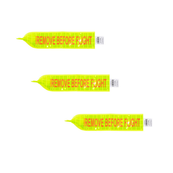 REMOVE BEFORE FLIGHT BANNER/Lime Green reflective tag, 3 X 18, digitally printed orange lettering