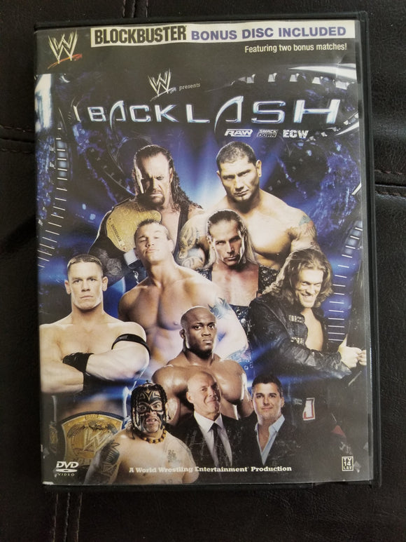 WWE Wrestling DVD 2007 Backlash with Rare Blockbuster Bonus Disc Edition