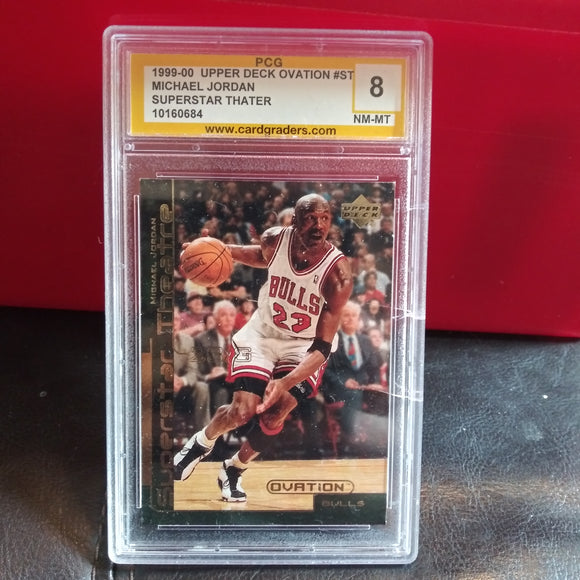 1999-2000 Upper Deck Ovation Michael Jordan Superstar Theatre Insert PCG PSA 8 NM-MT