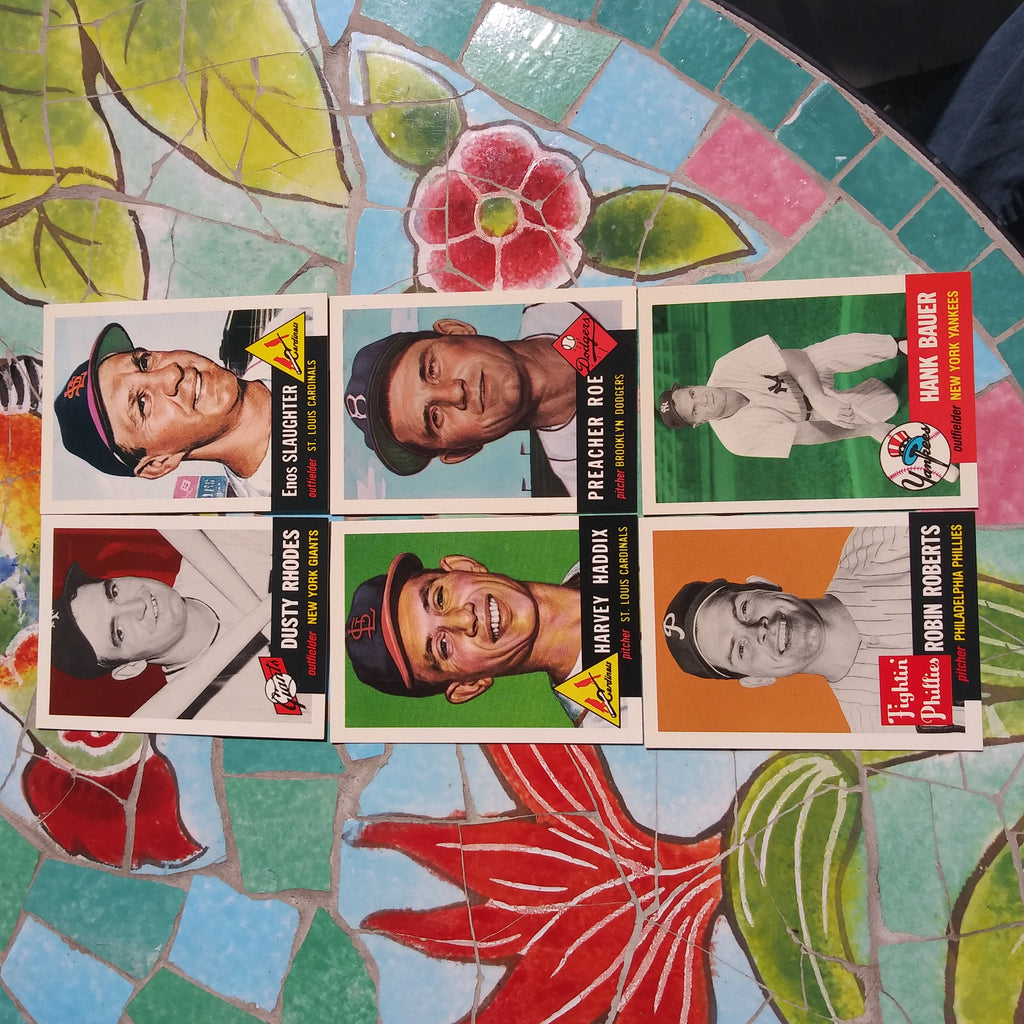 Set of 6 Topps 1953 Archives Enos Slaughter Preacher Roe Hank Bauer