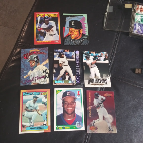 8 card Frank Thomas Lot Inserts and Rookie Cards