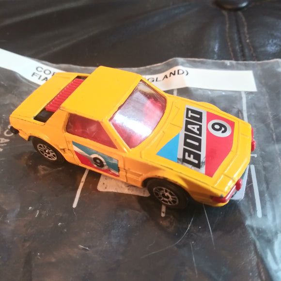 1970's Vintage Corgi Juniors (UK) Fiat XI/9 Yellow #9 Die-Cast Car