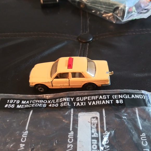 1979 Matchbox Lesney Superfast #56 Mercedes 450 SEL Tan Taxi Variant