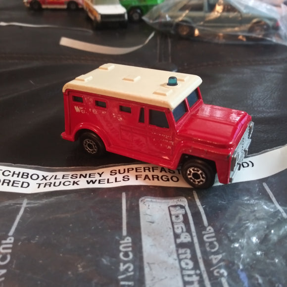 1978 Matchbox Lesney Superfast #69 Armored Truck Red Wells Fargo Version