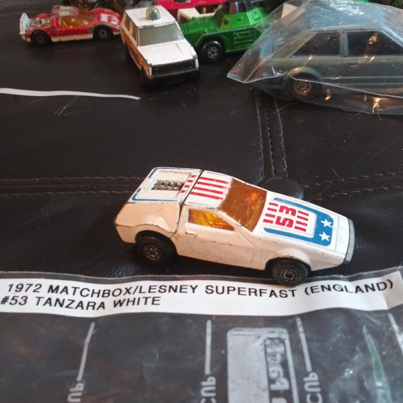 1972 Matchbox Lesney Superfast #53 Tanzara Red White Blue Version