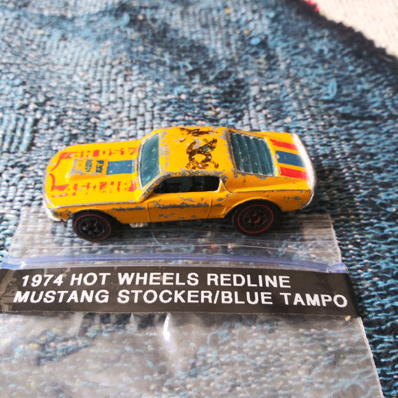 1974 Hot Wheels Mustang Stocker Redline Yellow Blue Tampo Steel Hong Kong Die-Cast
