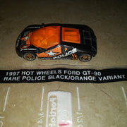 1997 Hot Wheels Ford GT-90 RARE Black & Orange Police Variant