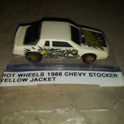 1988 Hot Wheels Chevy Stocker White Yellow Jacket Car