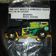 1996 Hot Wheels Armored Truck - Rollin In Dough Variant - No Back Doors