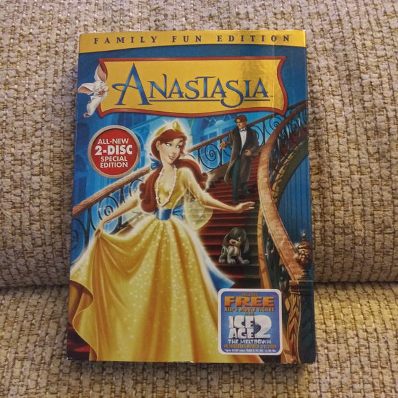 Anastasia - Family Fun Edition 2 Disc DVD with Chapter Insert Page & Slipcover - Bartok