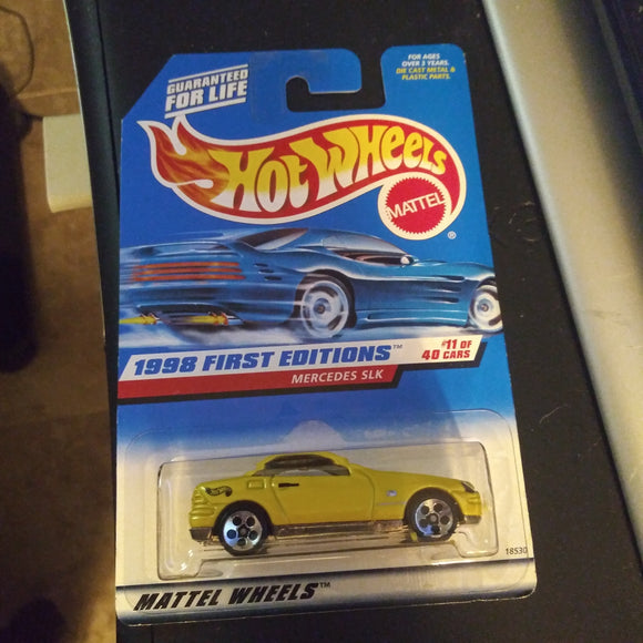 1998 Hot Wheels First Editions #646 Mercedes SLK (11 of 40) Yellow with 5 hole wheels