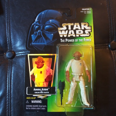 1997 Star Wars Power Of The Force Green Admiral Ackbar With Blaster Figure