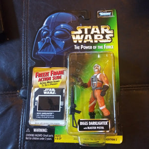 1997 Star Wars Power of the Force Green FREEZE FRAME Biggs Darklighter