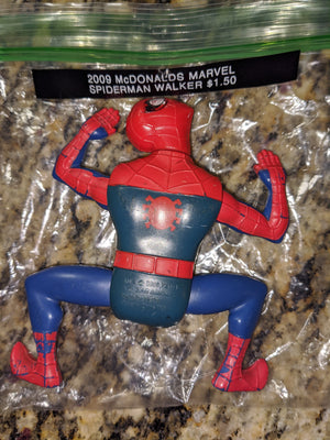 2009 McDonalds Marvel Spiderman Red & Blue Wheeled Crawler / Walker Figure