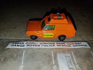 1980s Corgi Juniors RARE Range Rover Police Rescue Orange Variant
