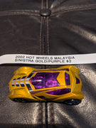 2002 Hot Wheels Malaysia Sinistra Gold w/Purple Windows Version