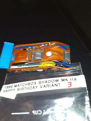 1999 Matchbox Shadow MK IIa Happy Birthday Orange Variant Die-Cast Car