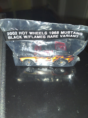 2002 Hot Wheels 1968 Mustang Black w/Flames Rare