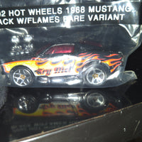 "2002 Hot Wheels 1968 Mustang Black w/Flames Rare ""Try Me"" Variant Car Die-Cast"