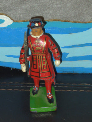 "W. Britian 2.5"" Lead Beefeater English Soldier Metal Figure with Staff Vintage"