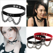 2016 Fashion Women Bijouterie Collares Punk Chain Goth Heart Choker Harajuku PU Leather Neck Collar Maxi Anime Necklaces Jewelry