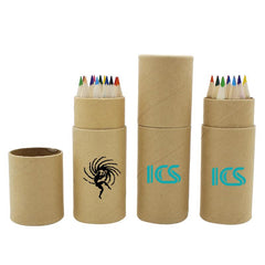 Small Colour Pencil Set In Eco-Friendly Cardboard Tube (12)