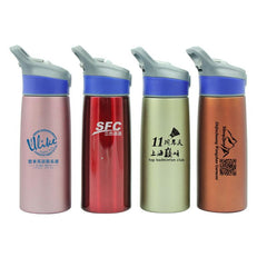 Sports Water Bottle With Push Button Straw (750ml)