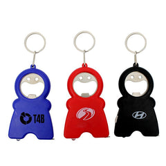 Smiling Man Keychain With Tape Measure, Led Light And Bottle Opener