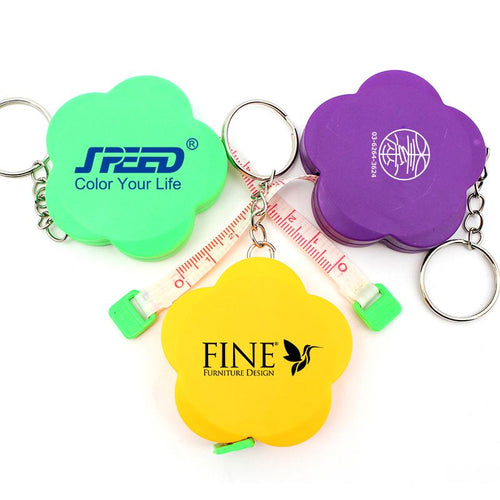 Flower Keychain With Tape Measure