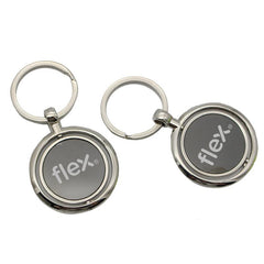 Round Zinc Alloy Keychain With Rotating Plate