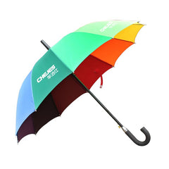 Non-Collapsible Rainbow Coloured Umbrella With Foam Rubber Handle