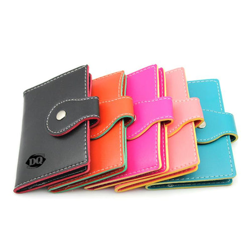 Book-Style Pu Leather Name Card Organiser With Contrast Stitching