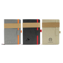 Business Notebook With Pu Leather Cover And Coloured Elastic Band Closure
