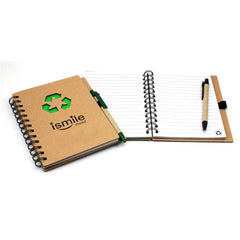 Notebook With Recycling Symbol On Kraft Paper Cover