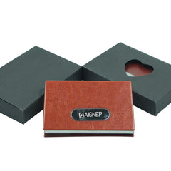 Stainless Steel Business Name Card Flip-Open Holder With Rounded Metal Plate On Cover